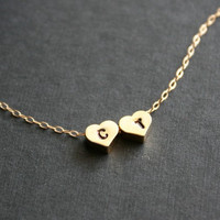 Reversible gold heart initial necklace  gold filled by DelicacyJ