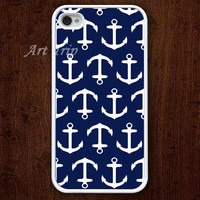 iPhone 4 Case, iphone 4s case --Anchor iphone 4 case, Nautical Anchor iphone 4 case, navy blue iphone 4 case