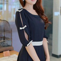 Cut Out Sleeves Feminine Flare Cutting Navy Chiffon Dress