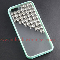 studded iphone 5 case, silver pyramid stud iPhone case, mint green Frosted Translucent iphone 5 case, case for iphone 5