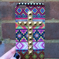 Pink Aztec Tribal Gold Dotted Cross Studded Matte iPhone Case