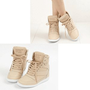 New Womens Shoes High Top Wedges Hidden High Heel Lace Up Fashion Sneakers
