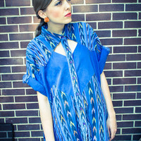 Vintage Blue Cut Out Button Up Oversized Blouse