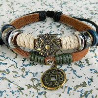 Ancient coins alloy pendants jewelry / Retro personality jewelry / Leather adjustable metal bracelet wax rope bronze mahogany wood beads