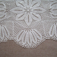 Sale 50% off Hand Knitted Tablecloth, Knitted Doily, Knitted Lace Tablecloth, Handmade Knitted Lace, Ready To Ship