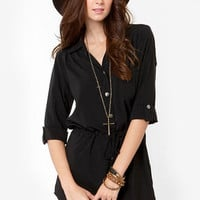 Lucy Love Celeste Black Shirt Dress