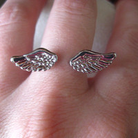 Double Mini Angel Wing Ring by belluga on Etsy