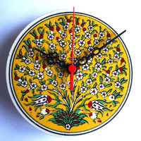 Wall Clock with Garnet  flowers patterns,Ceramic Turkish tile.2012