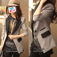 Autumn Women gray stitching shrug Slim suit jacket #6825