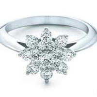 0.60 CT ROUND DIAMOND DIAMOND FANCY FLOWER DIAMOND ENGAGEMENT RING | eBay