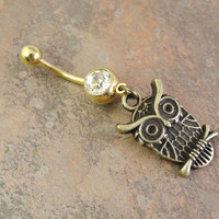 Gold Owl Belly Button Ring Jewelry Piercing