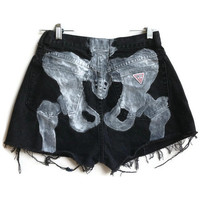 Skeleton Shorts Pelvis Bones Shorts Black Denim Shorts Hipster Tumblr Grunge