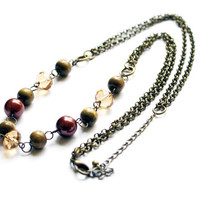 Antique Green Brown and Gold Bead Necklace on Double Bronze Chain