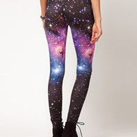 ASOS Leggings in Photographic Galaxy Print at asos.com
