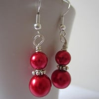 Red Glass Pearl Earrings, Christmas