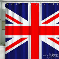 "Shower Curtain British flag UK banner Great Britain England English London 71x71""(180x180cm)"