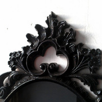 Black Scrying Mirror in Vintage Oval Frame with Easel Stand
