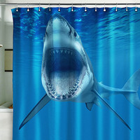 "Shower Curtain SHARK ocean sea underwater jaws water 71x71""(180x180cm)"