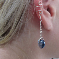 Sterling Ear Cuff Wrap Cartilage Non Pierced Chain and Swarovski Heart
