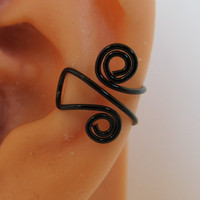 Ear Cuff Wrap Cartilage Non Pierced Spiraled Black Artistic Wire