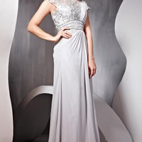 Silver Embellished Evening Dress in Chiffon and Lace