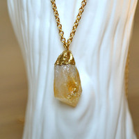Long Gold Necklace With Citrine Pendant