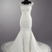 A-line Bateau Short Sleeve Cathedral Train Satin Tulle Lace Wedding Dress With Applique Beading Free Shipping