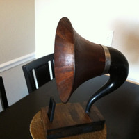 Acoustic  iPhone Speaker Dock Utilizing a Vintage Antique Wood Gramophone Horn  MADE to ORDER