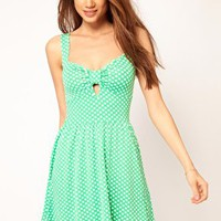 ASOS Skater Dress In Spot With Sweetheart Neck at asos.com