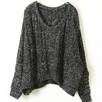 Oversized Loose-gauge Cable Knitted Jumper with Batwing Sleeve