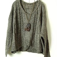 Vintage Oversized Loose-gauge Cable Knitted Jumper with Batwing Sleeve