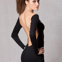 Backless Long Sleeve Mini Dress by mj.h9077 on Sense of Fashion