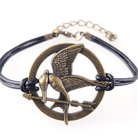 Hunger Game Bracelet Mockingjay Leather Cord Bracelet