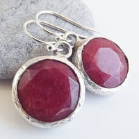 Cranberry Red Round Jade Stone Dangly Earrings With Sterling Silver Hooks - Spring, Classic - Office Fashion