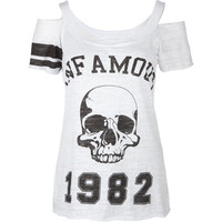 INFAMOUS Skull Cold Shoulder Womens Top