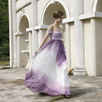 Purple Off the Shoulder Bead Embellished Evening Dress by ElliotClaireLondon on Sense of Fashion