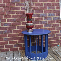 Cobalt Blue Vintage SideTable/Distressed /Book Rack /Shabby Chic /Cottage Chic /Beach Decor
