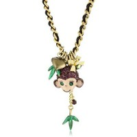 "Betsey Johnson ""Asian Jungle"" Monkey Pendant Necklace - designer shoes, handbags, jewelry, watches, and fashion accessories 