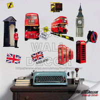 PEEL and STICK Removable Vinyl Wall Sticker Mural Decal Art - Olympic LONDON, Phone Booth, Double Deck Bus, England Flag, Big Ben (2 pages)