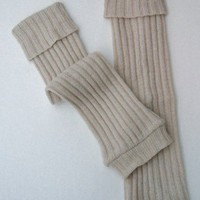 Upcycled Leg Warmers with Boot Cuff in Wheat Color