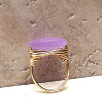 Lavender Sea Glass Ring:  Brass Wire Wrapped Beach Jewelry, Color Changing Periwinkle Gray, Size 8