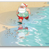 Beach Jogging Santa Boxed Christmas Cards | OceanStyles.com