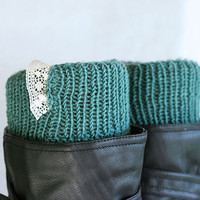 Knit leg warmers with lace embellishment, Boot cuffs, Boot toppers