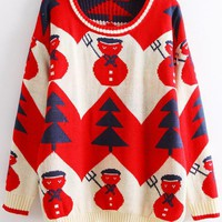 Snowman &amp; Tree Print Christmas Sweater
