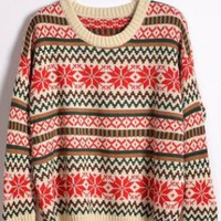 Round Neck Snowflake Sweater Beige  S004552