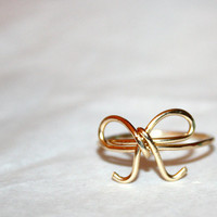 GOLDEN BOW RING / handmade hypoallergenic wire-wrapped 14 karat gold ring  / ft. 14 karat gold  / gifts under 25
