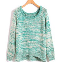 Blue Oversized Batwing Sweater in Fleck Yarn Print