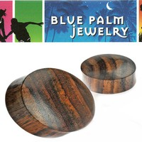 Solid Sono Wood Double Flare Ear Plugs Organic E140