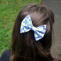 Light Blue and Navy Floral Bow