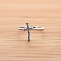 tiny CROSS with crystals ring, 3 colors | girlsluv.it